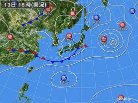 実況天気図(2015年08月13日)