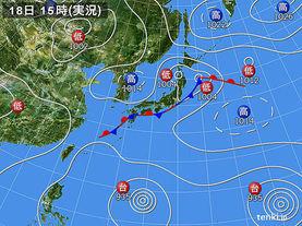 実況天気図(2015年08月18日)
