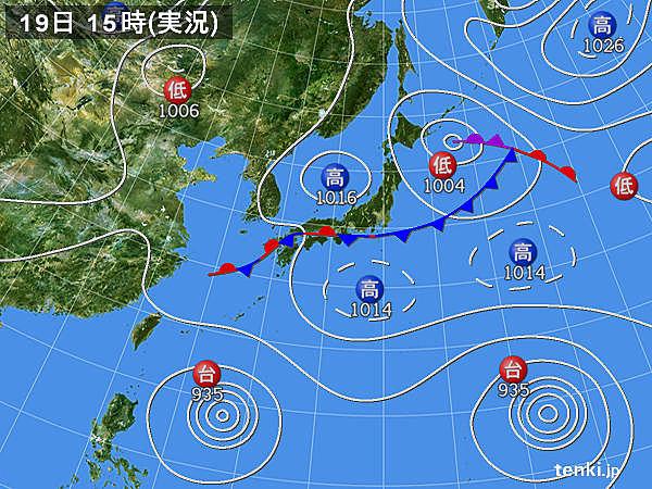 実況天気図(2015年08月19日)