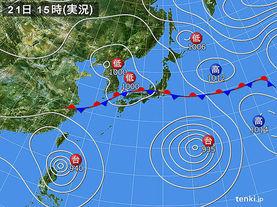 実況天気図(2015年08月21日)