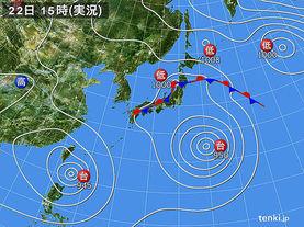 実況天気図(2015年08月22日)