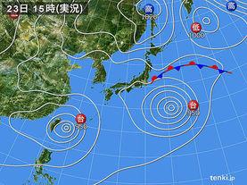 実況天気図(2015年08月23日)