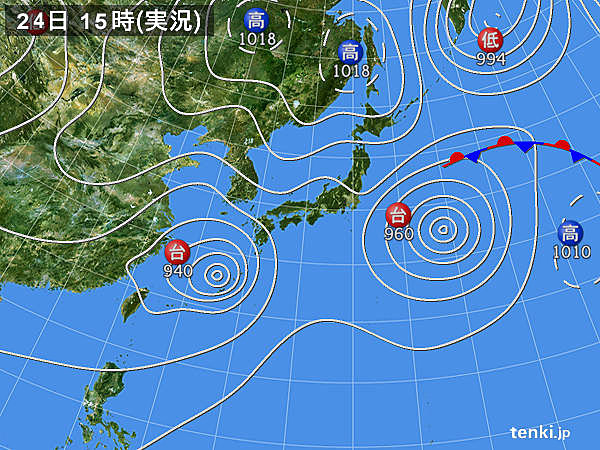 実況天気図(2015年08月24日)