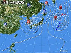実況天気図(2015年08月25日)