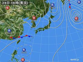 実況天気図(2015年08月28日)