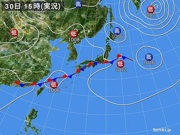 実況天気図(2015年08月30日)