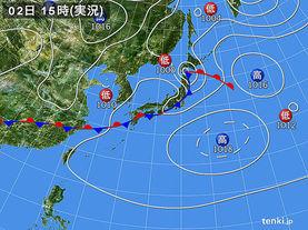 実況天気図(2015年09月02日)