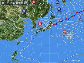 実況天気図(2015年09月09日)