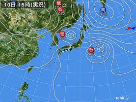 実況天気図(2015年09月10日)