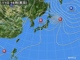 実況天気図(2015年09月11日)