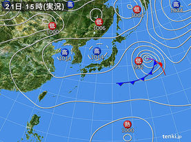 実況天気図(2015年09月21日)
