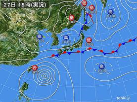 実況天気図(2015年09月27日)