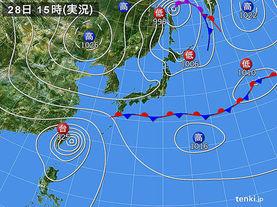実況天気図(2015年09月28日)