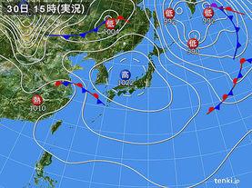 実況天気図(2015年09月30日)