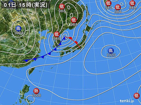 実況天気図(2015年10月01日)