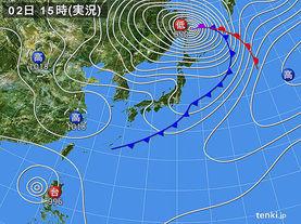 実況天気図(2015年10月02日)