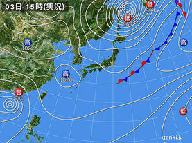 実況天気図(2015年10月03日)