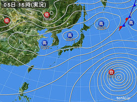 実況天気図(2015年10月05日)