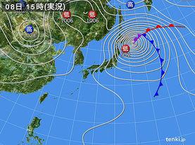 実況天気図(2015年10月08日)