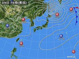 実況天気図(2015年10月09日)
