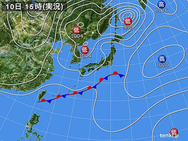 過去の実況天気図(2015年10月10日) - 日本気象協会 tenki.jp