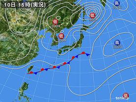 実況天気図(2015年10月10日)