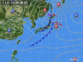 実況天気図(2015年10月11日)