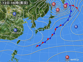 実況天気図(2015年10月12日)