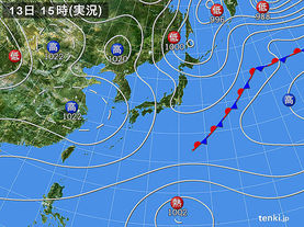 実況天気図(2015年10月13日)