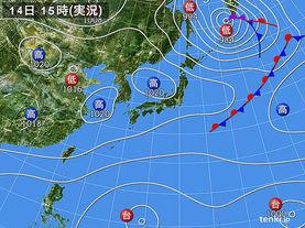 実況天気図(2015年10月14日)