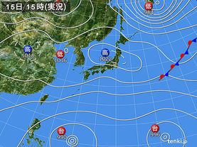 実況天気図(2015年10月15日)