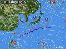 実況天気図(2015年10月16日)
