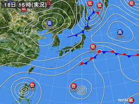 実況天気図(2015年10月18日)