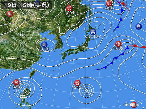 実況天気図(2015年10月19日)