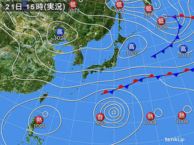 実況天気図(2015年10月21日)