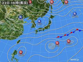 実況天気図(2015年10月22日)