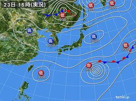 実況天気図(2015年10月23日)