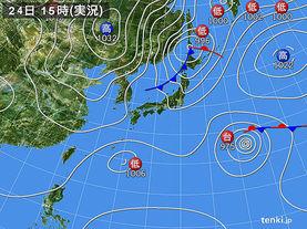 実況天気図(2015年10月24日)