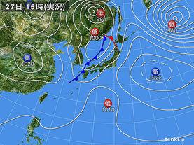 実況天気図(2015年10月27日)