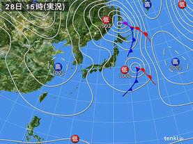 実況天気図(2015年10月28日)