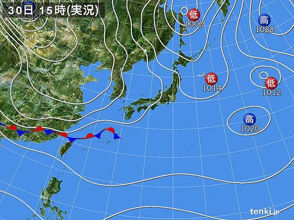 実況天気図(2015年10月30日)