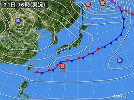 実況天気図(2015年10月31日)