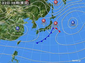 実況天気図(2015年11月02日)