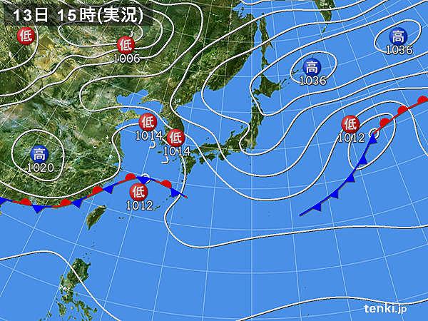 実況天気図(2015年11月13日)