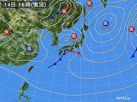 実況天気図(2015年11月14日)
