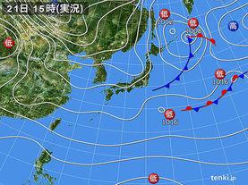 実況天気図(2015年11月21日)