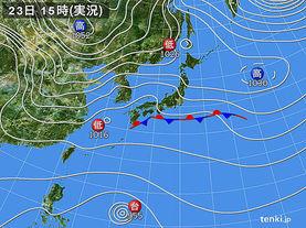 実況天気図(2015年11月23日)