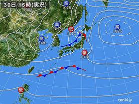 実況天気図(2015年11月30日)