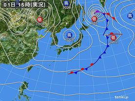 実況天気図(2015年12月01日)