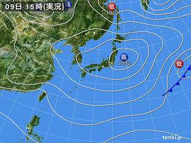 実況天気図(2015年12月09日)